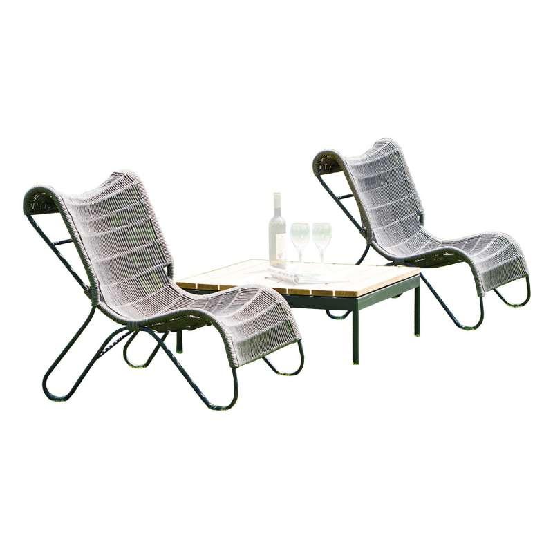 Sonnenpartner 3-teilgie Sitzgruppe Ritz & Vogue 2 Sessel mit Tisch Aluminium mit Polyrope grau Relax