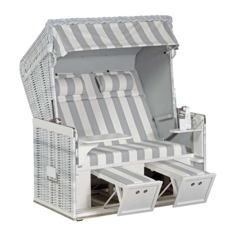 Sonnenpartner Strandkorb Konsul 2-Sitzer XL Halbliegemodell white-washed/hellgrau PVC mit Sonderauss