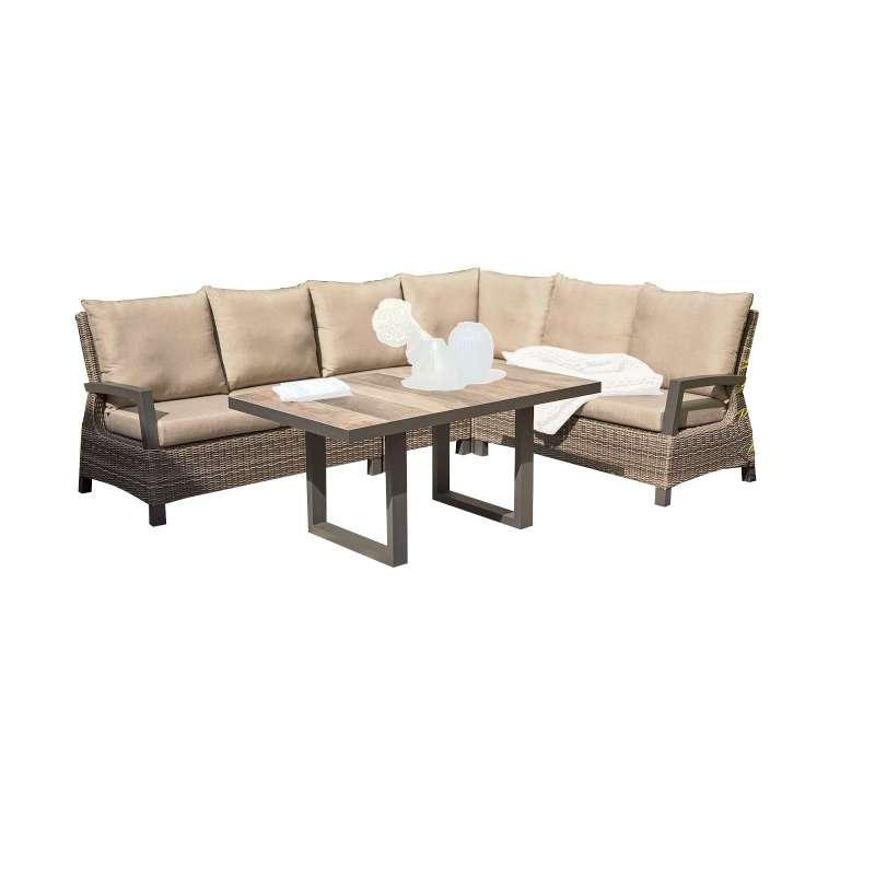 Siena Garden Loungegruppe Corido 5-teilig Alugestell Gardino®-Geflecht charcoal grey