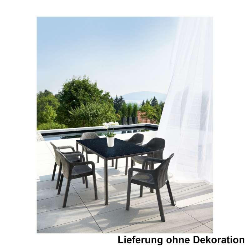 Lechuza 7-teilige Sitzgruppe Flechtstruktur granit Gartentisch HPL 160x90 cm 6 Stapelstühle