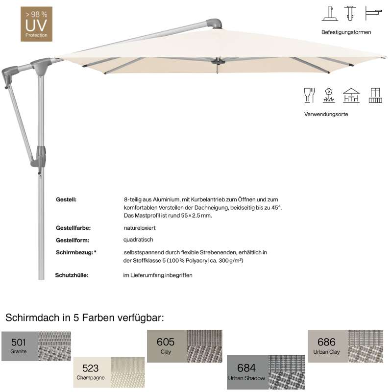 GLATZ Sonnenschirm SUNWING® CASA quadratisch 270 x 270 cm 5 Farben Stoffklasse 5 Ampelschirm