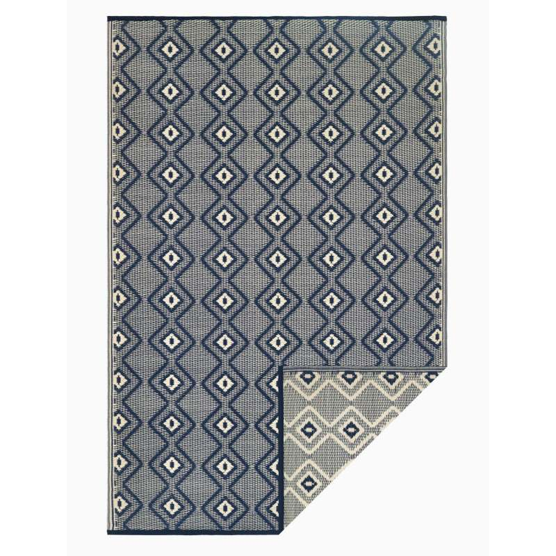 Fab Hab Outdoorteppich Rabat Blue&Cream aus recyceltem Plastik blau/creme 120x180 cm