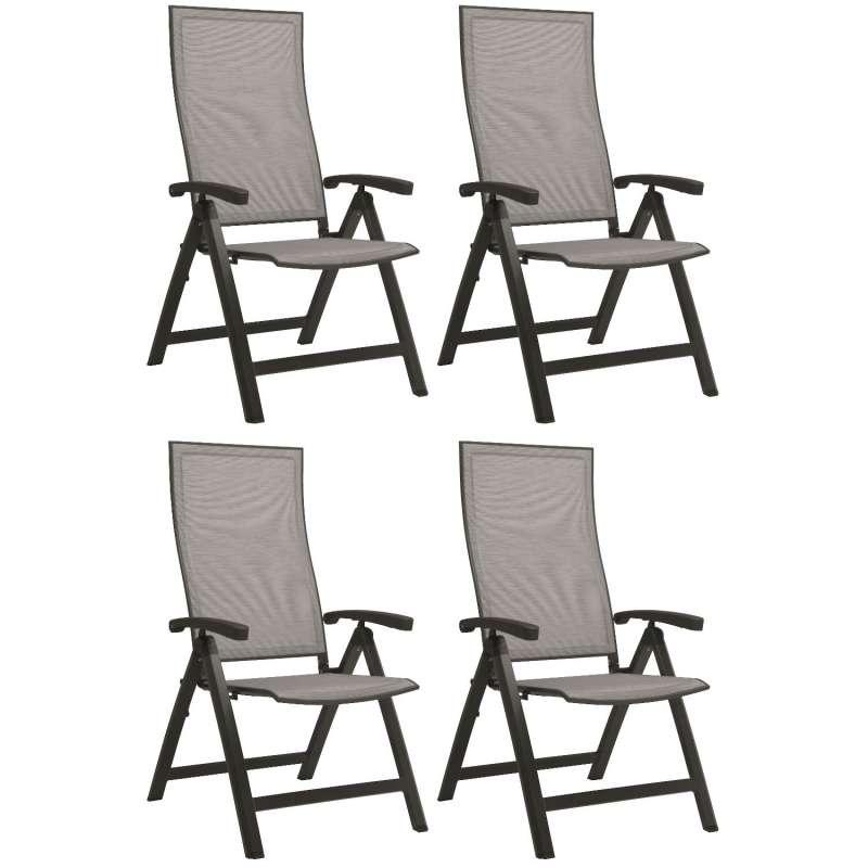 Stern 4er-Set Klappsessel Kari Aluminium anthrazit/Textilen silber Gartenstuhl Hochlehner