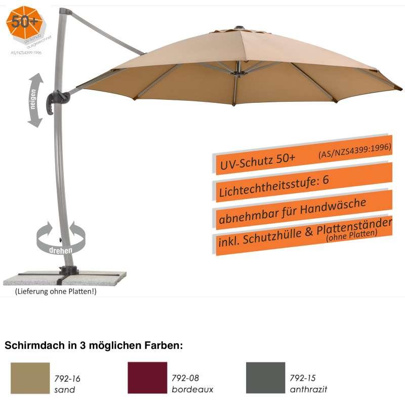 Schneider Schirme Rhodos Rondo Ampelschirm ø 350 cm rund 3 Farbvarianten Sonnenschirm