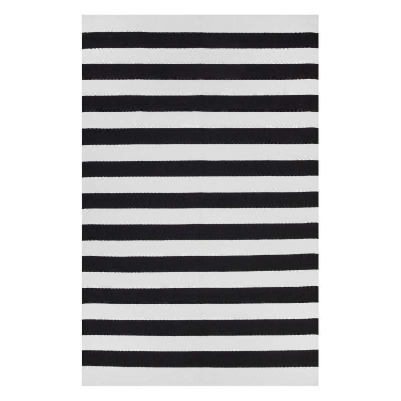 Fab Habitat Teppich Nantucket Black&Bright White aus recycelter Baumwolle schwarz/weiß 60x90 cm