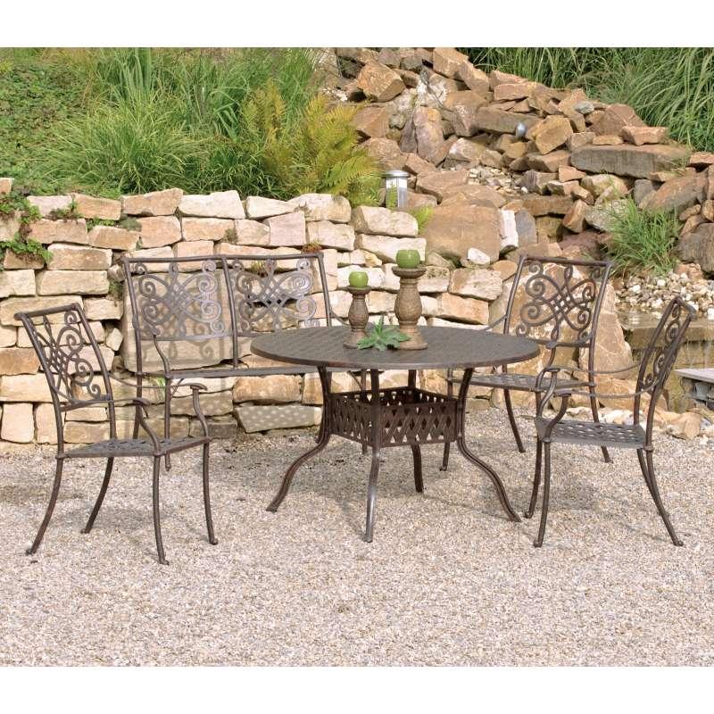 Inko Sitzgruppe Aluguss Serie Nexus Bronze Tisch Rund Stapelsessel