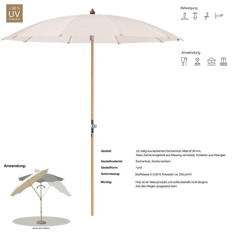 GLATZ Sonnenschirm ALEXO® 2 Größen 200 / 220 cm Farbe 453 Vanilla Mittelmastschirm