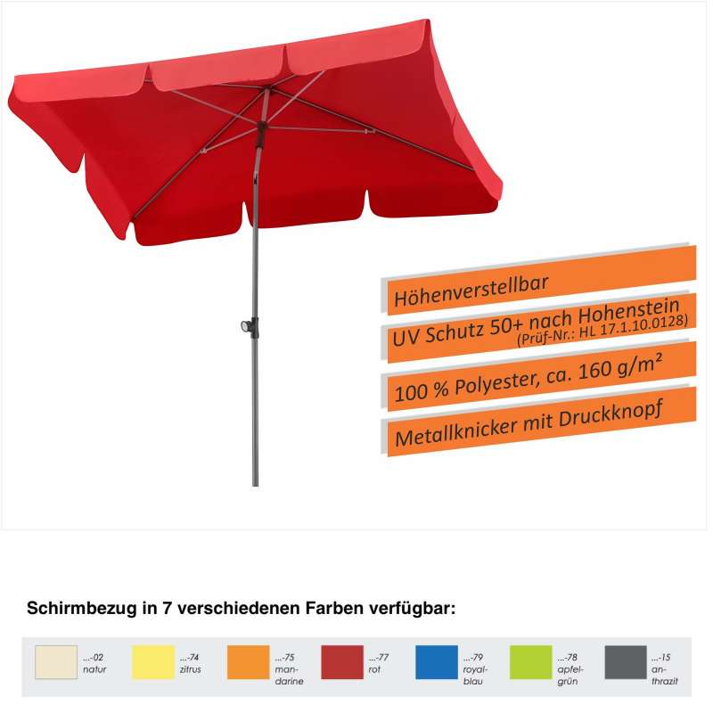Schneider Locarno Sonnenschirm 180 x 120 cm in 7 Farbvarianten Gartenschirm Balkonschirm