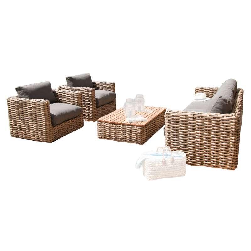 Sonnenpartner 4-teilige Lounge-Sitzgruppe Sands Aluminium mit Polyrattan Light Oaks Loungesitzgruppe