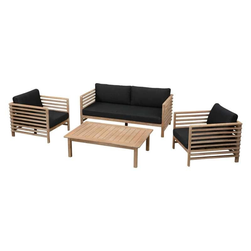 Inko 4-teilige Lounge-Sitzgruppe Jasper Akazienholz Teak-Optik mit Tisch 120x80 cm Loungegruppe