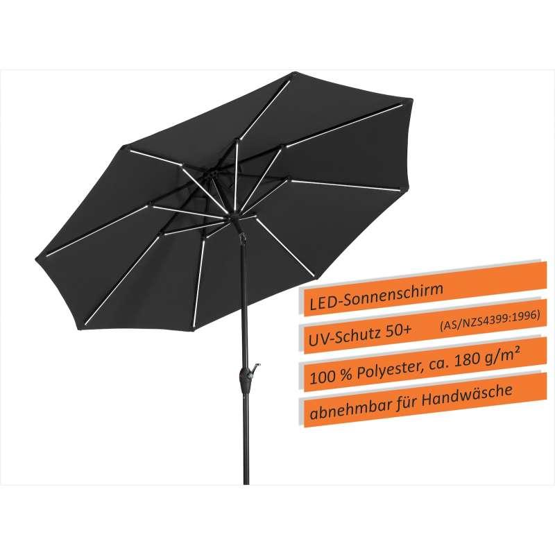 Schneider Schirme Blacklight Sonnenschirm ø 270 cm anthrazit LED Mittelmastschirm