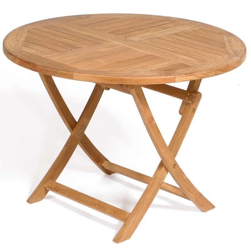 SunnySmart Teakholz-Klapptisch York natur Tisch rund Ø 100 cm Balkontisch