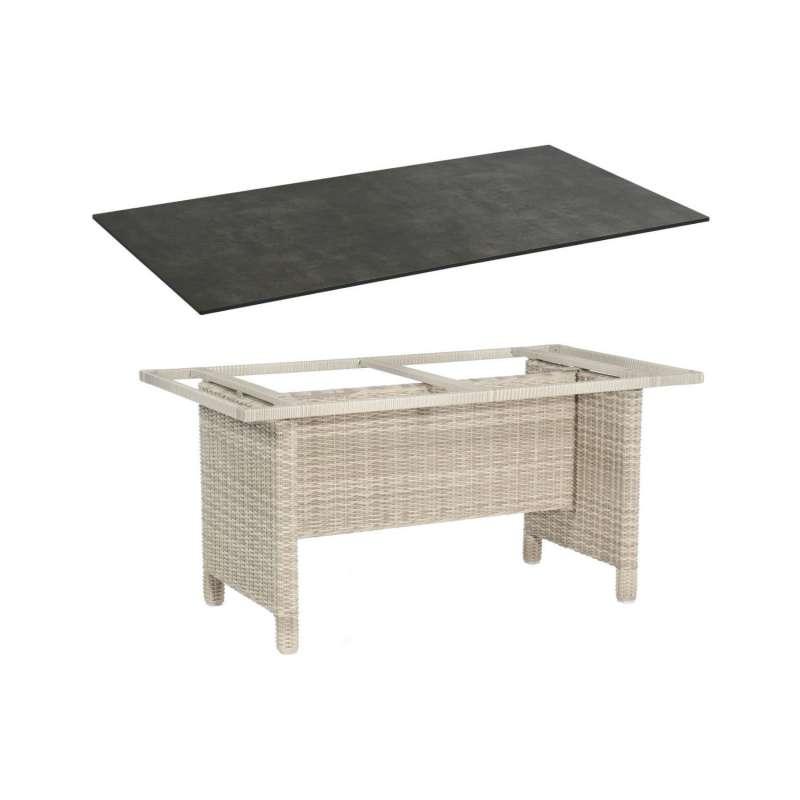 Sonnenpartner Gartentisch Base 160x90 cm Aluminium mit Polyrattan white-coral Tischsystem mit wählba