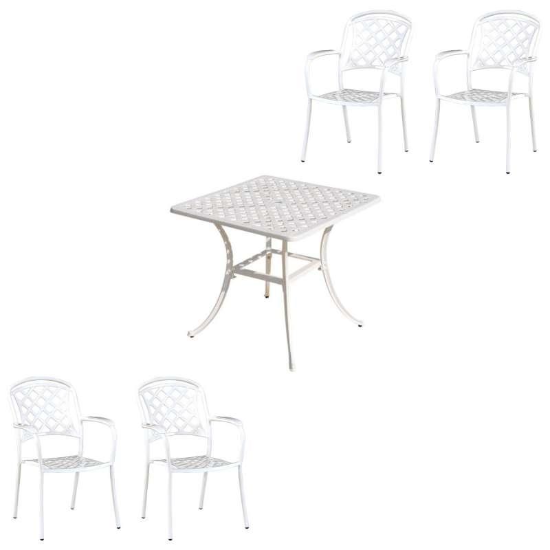 Inko 5-teilige Sitzgruppe Aluminium Guss weiß Tisch 80x80cm mit 4 Sesseln Nexus/Urban/Duke/Capri