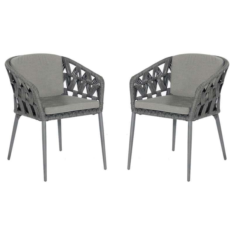 Sonnenpartner 2er-Set Gartensessel Fairmont Aluminium mit Polyrope schwarzgrau Gartenstuhl Sessel