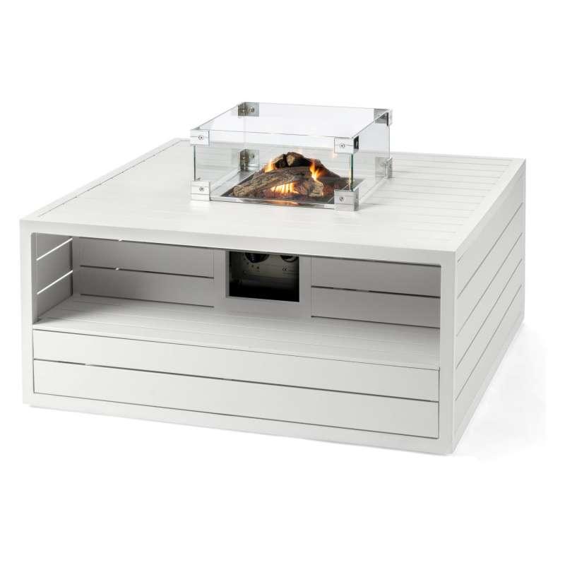 Happy Cocooning Mania Feuertisch Aluminium weiß 6,5 kW quadratisch 105x105x47 cm mit Glasschirm