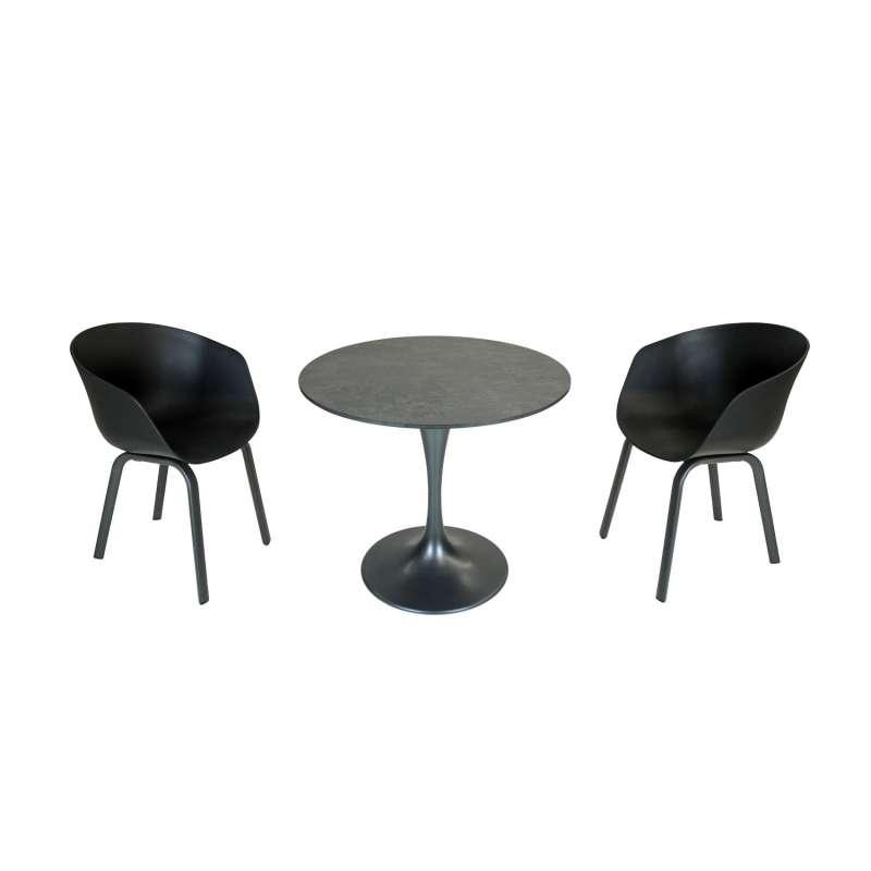 SIT Mobilia 3-teilige Sitzgruppe Trompeta rund & Boca Aluminium eisengrau/schwarz Tisch Ø 80 cm mit