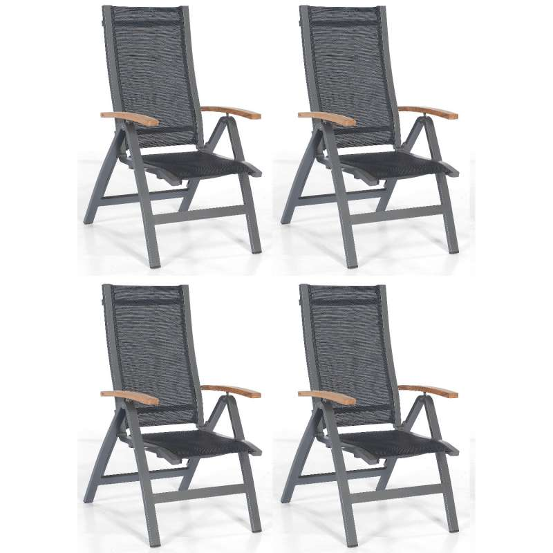 Sonnenpartner 4er-Set Klappsessel Florida Aluminium anthrazit/Textilen schwarz Klapp-Sessel Klappstu