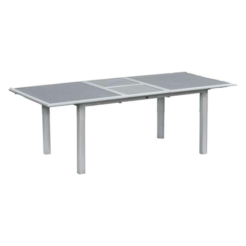 Inko Aluminium-Glastisch Spraystone silber/grau ausziehbar 170/220x100x74 cm Gartentisch Terrassenti
