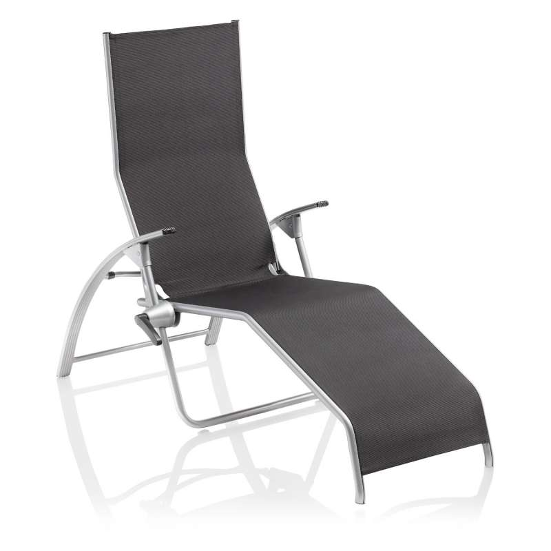 Kettler Bäderliege Tampa Aluminium silber/Twitchell charcoal ergonomische Sonnenliege kippbar