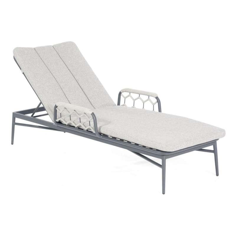Sonnenpartner Lounge-Liege Yale Aluminium mit Polyrope silbergrau mit Auflage Relaxsessel Gartenlieg