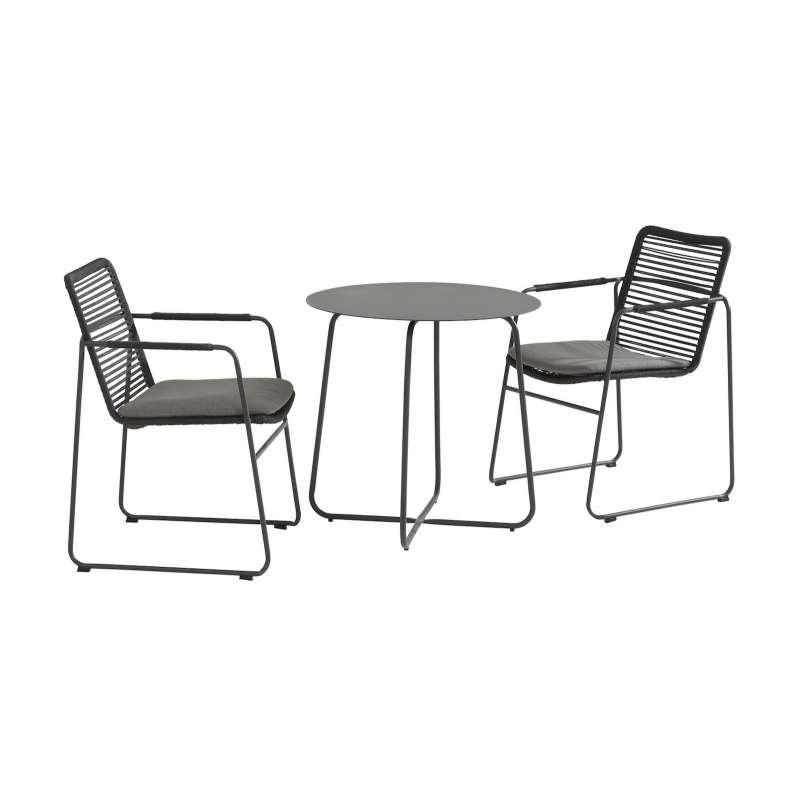 Aqua-Saar Martini Bistro-Set 3-teilig Balkonset Tisch inkl 2 Stck Stapelstuhl