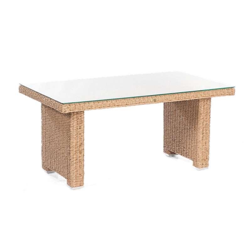 Sonnenpartner Dining-Tisch Residence 140x80 cm Aluminium mit Polyrattan Hyazinthoptik mit Glas Loung