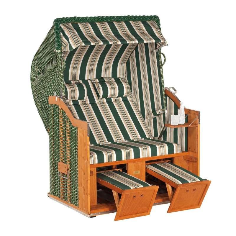Sonnenpartner Strandkorb Classic 2-Sitzer Halbliegemodell grün/beige mit 2 Nackenrollen und Staufach