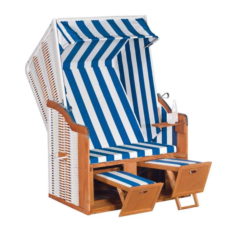 SunnySmart Garten-Strandkorb Rustikal 50 BASIC 2-Sitzer weiß/blau PVC-Stoff