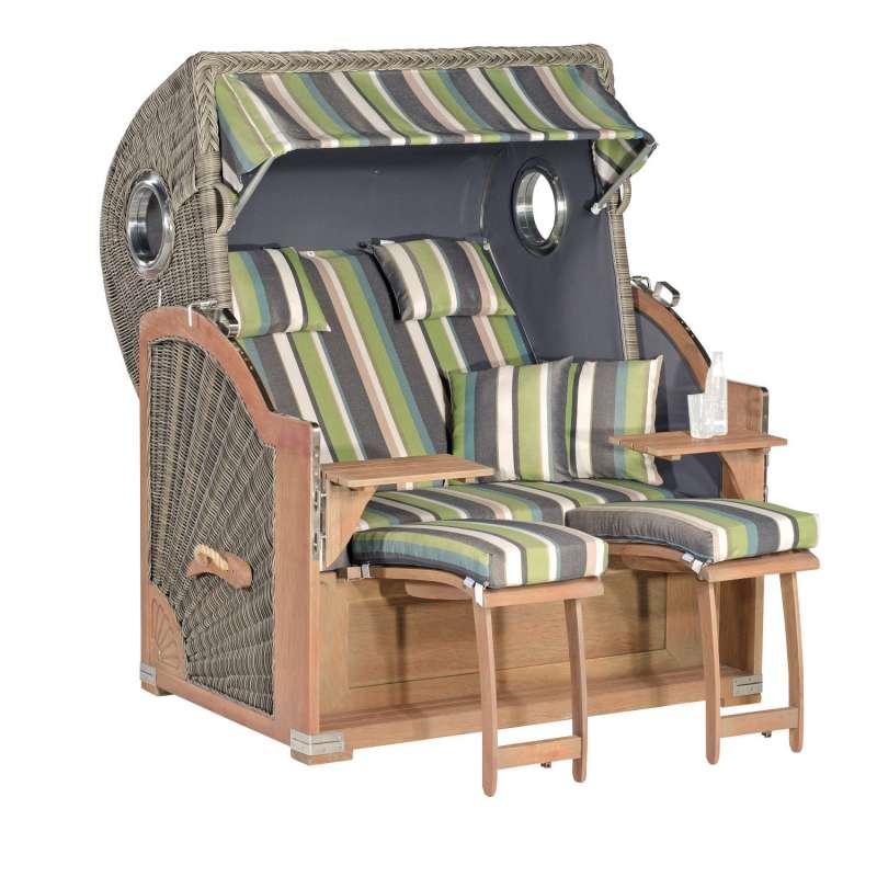 SunnySmart Garten-Strandkorb Rustikal 500 PLUS COMFORT 3/4-Liegemodell 2-Sitzer XL basalt-grau/grün/