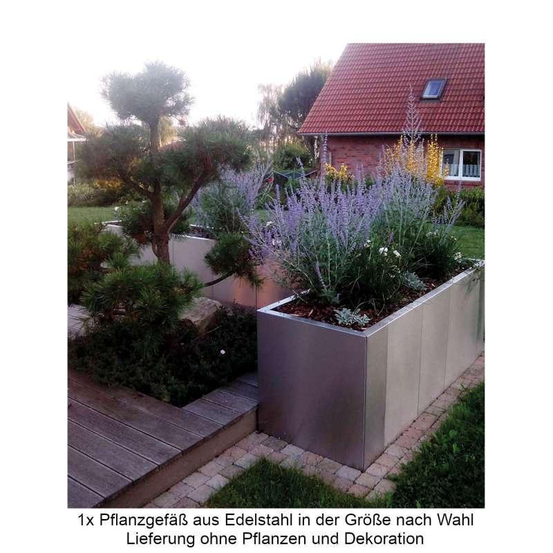 Mecondo Pflanzgefäß CONTURA Edelstahl Blumenkübel mit Bewässerungssystem verschiedene Größen