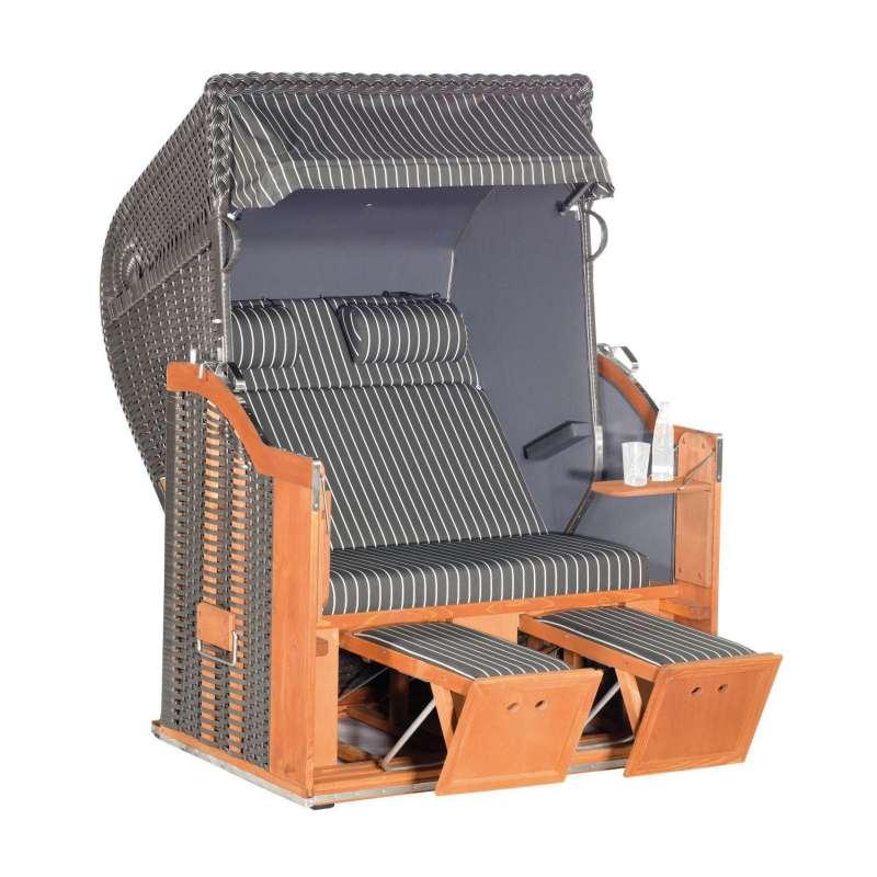 Sonnenpartner Strandkorb Classic 2-Sitzer Halbliegemodell anthrazit mit Sonderausstattung