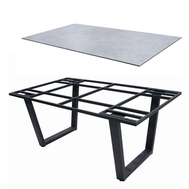 4Seasons Outdoor Gartentisch Global Goa Aluminium HPL Platte 160 x 95 cm Light Grey