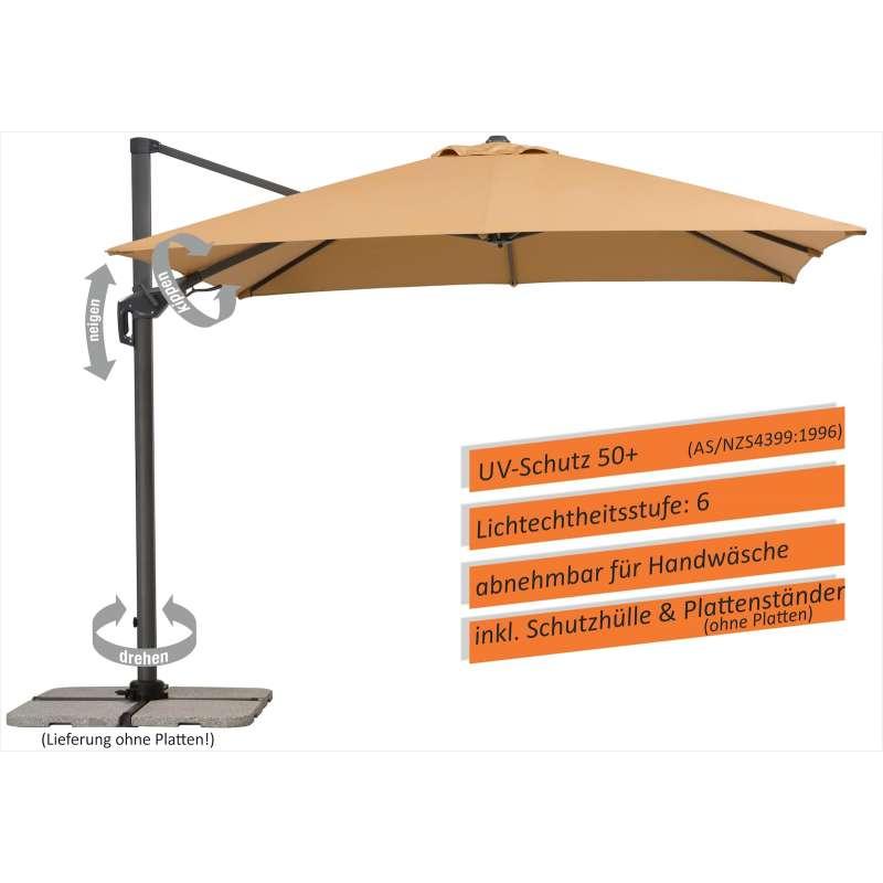 Schneider Schirme Rhodos Twist Sonnenschirm 300 x 300 cm sand Freiarmschirm