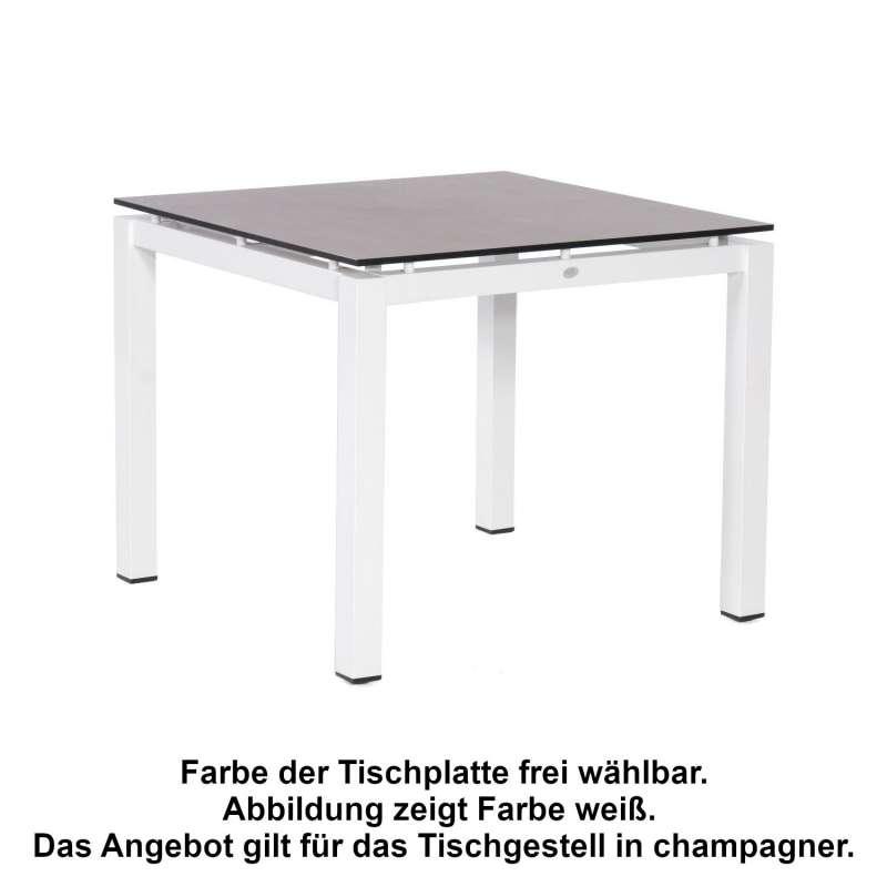 Sonnenpartner Gartentisch Base 90x90 cm Aluminium champagner Tischsystem mit wählbarer Tischplatte H