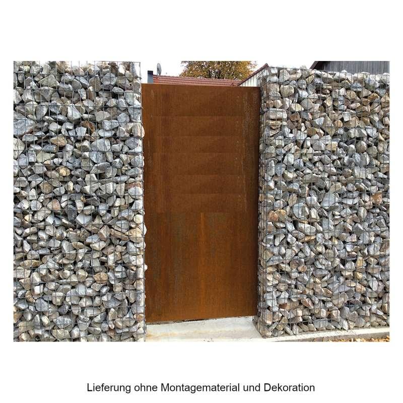 Mecondo PARAS Sichtschutzwand 90x180 cm Corten/Edelstahl/Aluminium 52 mm Kantung