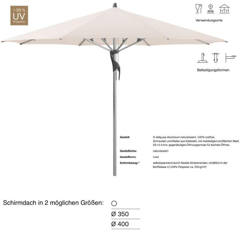 GLATZ Sonnenschirm FORTERO® rund ø 350 oder ø 400 cm Stoffklasse 4 Vanilla 453 Mittelstock