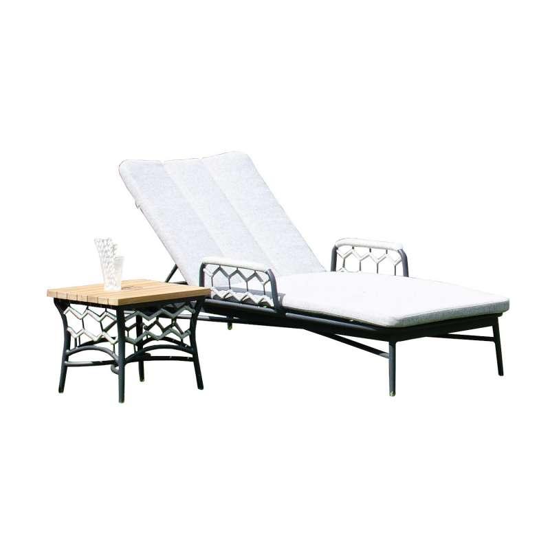 Sonnenpartner Lounge-Liege Yale mit Beistelltisch Teak/Aluminium mit Polyrope silbergrau mit Auflage