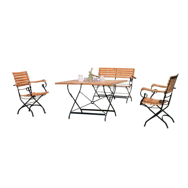 Sonnenpartner 4-teilige Sitzgruppe Oxford 120x80 cm Teakholz und Eisen schwarz Gartentisch klappbar