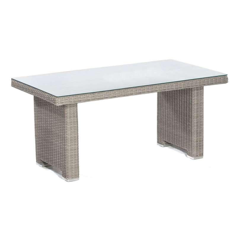 Sonnenpartner Dining-Tisch Residence 140x80 cm Aluminium mit Polyrattan stone-grey mit Glas Loungeti