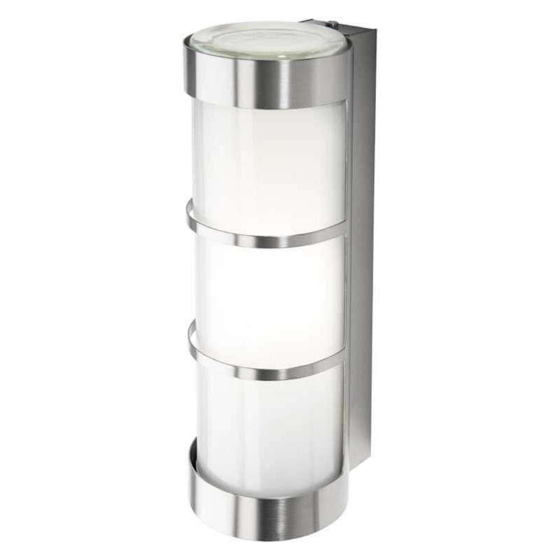 Heibi Wandleuchte mit Zierleisten Zylinderform Edelstahl/Opalglas 10x12,5x31,5 cm E27 Außenleuchte