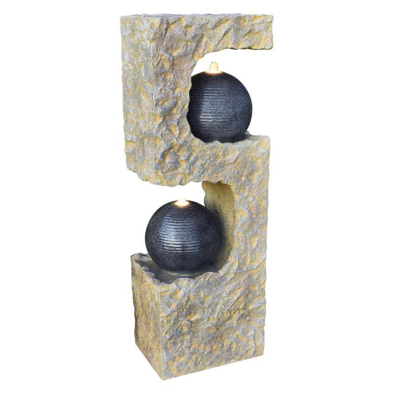Granimex Opus Polystone Wassersäule mit Pumpe und LED-Beleuchtung Wasserspiel 110x45x32 cm