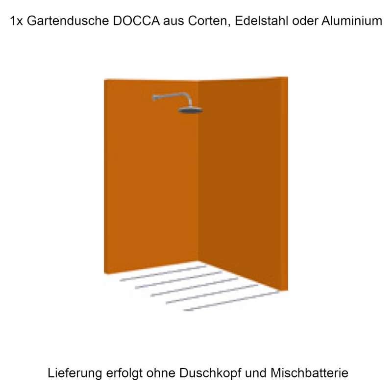 Mecondo Eck-Gartendusche DOCCA 135/135x225x6 cm Corten/Aluminium/Edelstahl Pooldusche Saunadusche