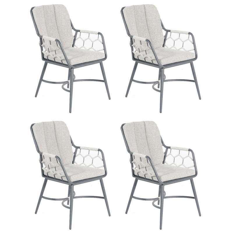 Sonnenpartner 4er-Set Gartensessel Yale Aluminium mit Polyrope silbergrau Gartenstuhl Sessel