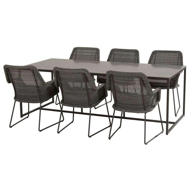 4Seasons Outdoor Samoa Dining Sitzgruppe Tisch 220 x 95 cm mit 6 Stühlen