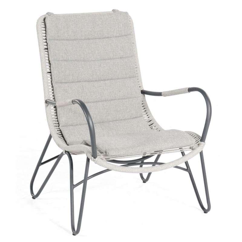 Sonnenpartner Loungesessel Charité Aluminium mit Polyrope silbergrau Relaxsessel Garten-Sessel