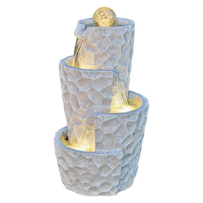 Granimex Meo Polystone Brunnen mit Pumpe LED-Beleuchtung Glaskugel Wasserspiel 71xØ40 cm