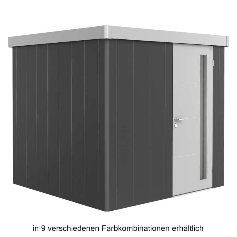 Biohort Gerätehaus Neo 2B 236x236x222 cm Standardtür in 9 verschiedenen Farben Gartenhaus