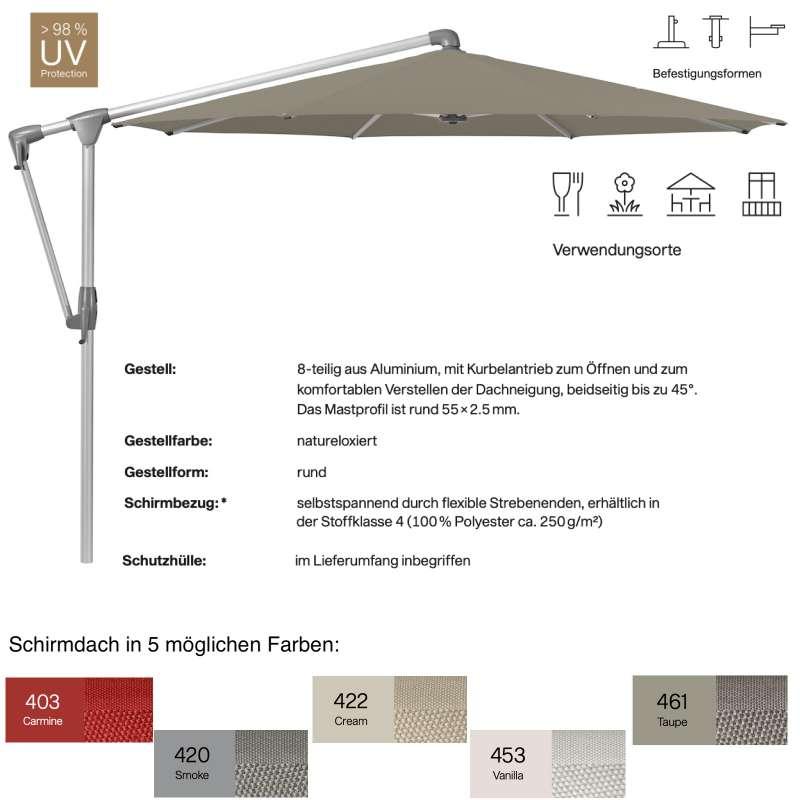GLATZ Sonnenschirm SUNWING® CASA rund ø 330 cm 5 mögliche Farben Ampelschirm Stoffklasse 4