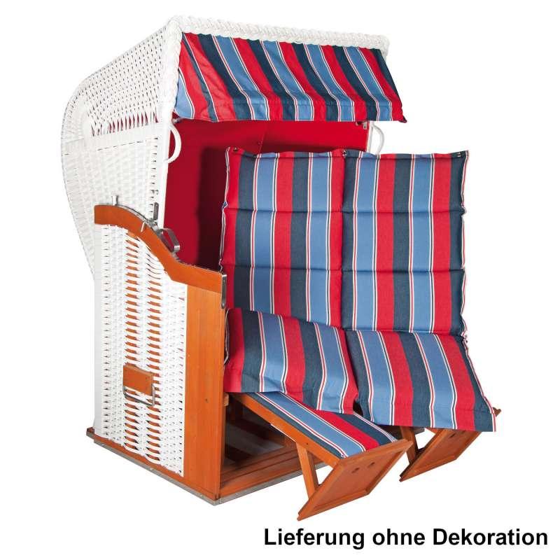 Sonnenpartner Strandkorb Classic Duo-Style 2-Sitzer Halbliegemodell weiß/rot/blau